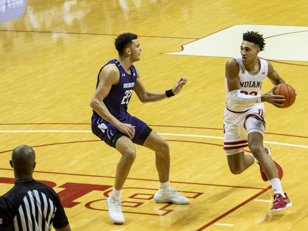 Sophomore forward Trayce Jackson-Davis moves into the paint Dec. 23 at Simon Skjodt Assembly Hall. Jackson-Davis scored 22 points against Northwestern.