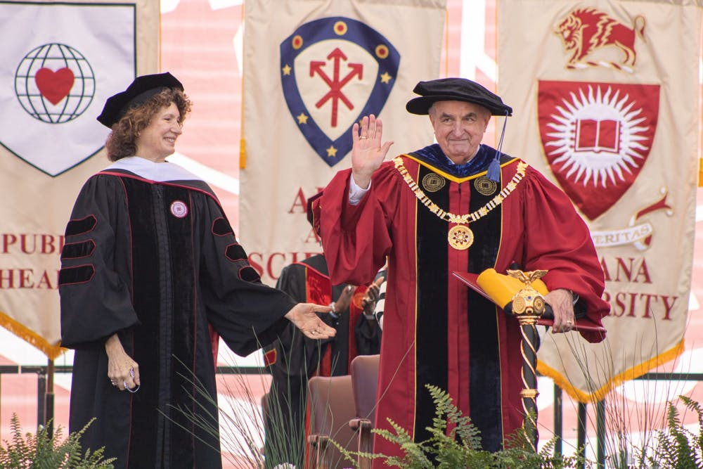 Then-IU President Michael McRobbie at IU Bloomington's undergraduate commencement ceremony May 8, 2021. McRobbie served as IU's president for 14 years.