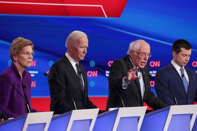 Sen. Elizabeth Warren, former Vice President Joe Biden and former South Bend, IN Mayor Pete Buttigieg listen as Sen. Bernie Sanders makes a point during the Democratic presidential primary debate Jan. 14 in Des Moines, Iowa. All the candidates onstage Jan. 14 were white.