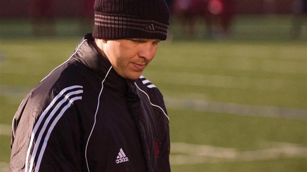 IU assistant coach Todd Yeagley scans the sidelines shortly before halftime of IU's 4-2 win against Butler on Oct. 24, 2006. Todd played on the IU men's team from 1991-1994 under his father, legendary coach Jerry Yeagley.