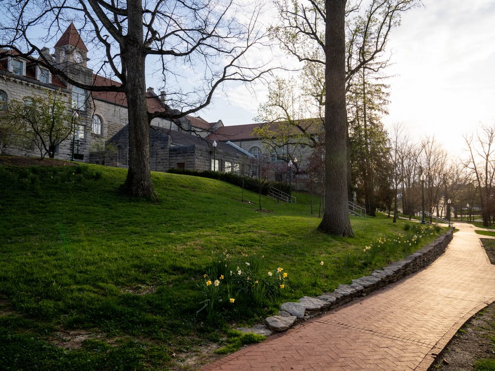 An empty path is pictured April 8 by the Frances Morgan Swain Student Building.