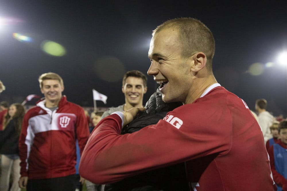 <p>Then-senior defender Andrew Gutman celebrates after IU&#x27;s NCAA Tournament quarterfinal win against the University of Notre Dame on Nov. 30, 2018, at Bill Armstrong Stadium. Gutman was named to the College Soccer News' Team of the Decade on Wednesday, the only Hoosier to make the first team roster.</p>