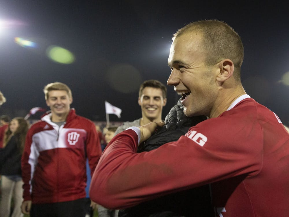 Then-senior defender Andrew Gutman celebrates after IU's NCAA Tournament quarterfinal win against the University of Notre Dame on Nov. 30, 2018, at Bill Armstrong Stadium. Gutman was named to the College Soccer News' Team of the Decade on Wednesday, the only Hoosier to make the first team roster.