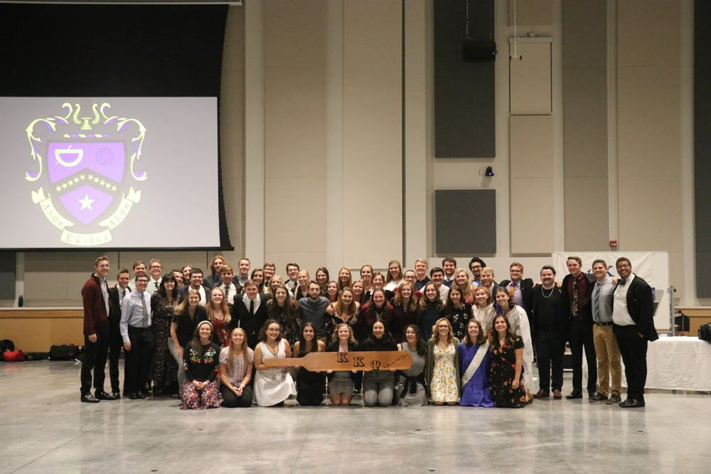<p>Members of Alpha Zeta, the IU chapter of Kappa Kappa Psi, pose for a photo during a fraternity banquets in October 2019. Membership candidates of Kappa Kappa Psi are coordinating an information night on Feb. 20.</p>
