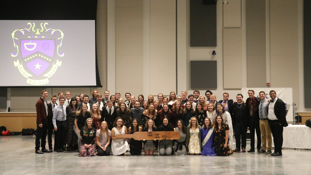 Members of Alpha Zeta, the IU chapter of Kappa Kappa Psi, pose for a photo during a fraternity banquets in October 2019. Membership candidates of Kappa Kappa Psi are coordinating an information night on Feb. 20.