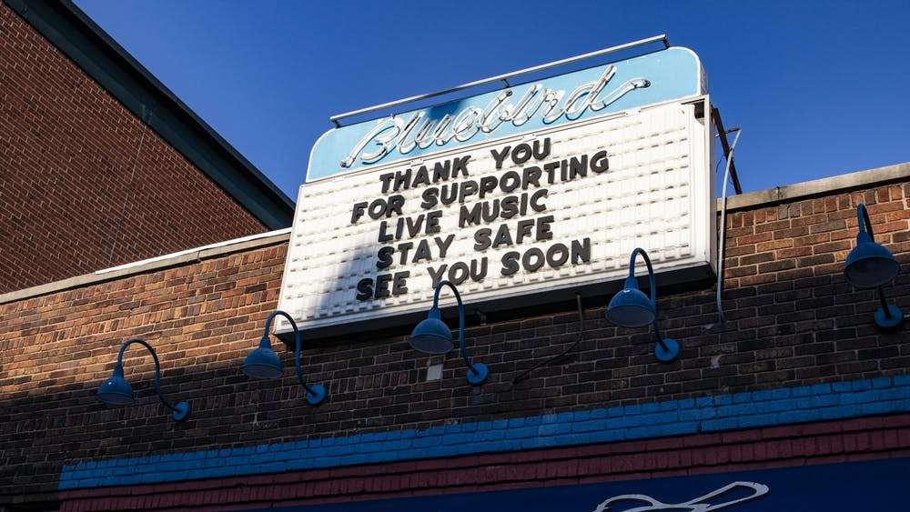 """A sign reads, """"Thank you for supporting live music. Stay safe. See you soon,"""" on March 23 at the Bluebird. Many Bloomington musicians have been affected by the coronavirus not allowing them to perform live music."""