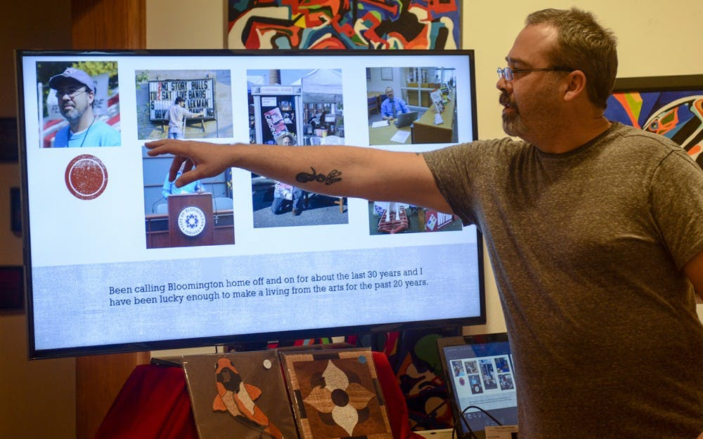 Marc Tschida, a hand crafted wooden jigsaw puzzle artist in Bloomington, gives a talk Tuesday evening at The Venue Fine Art & Gifts. Tschida started a company name Press Puzzle in order to celebrate Bloomington culture through puzzles.