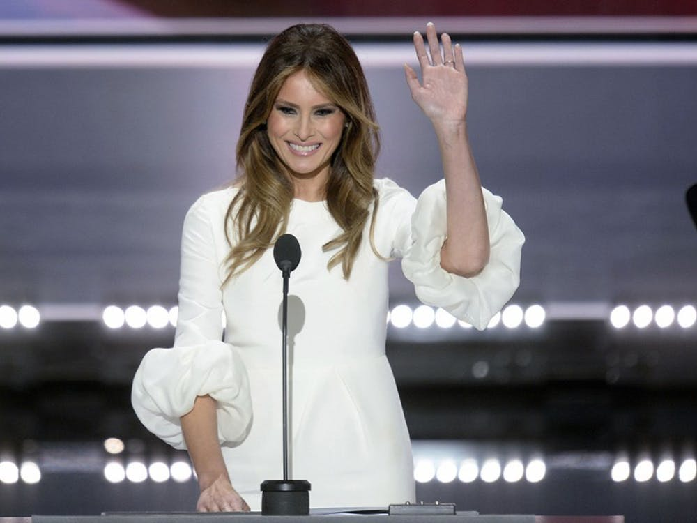 Melania Trump speaks on the first day of the Republican National Convention in Cleveland on July 18, 2016. Her husband, GOP presidential candidate Donald Trump, has made immigration a central issue on the campagin trail, and now her own immigration status is being questioned. (Olivier Douliery/Abaca Press/TNS)
