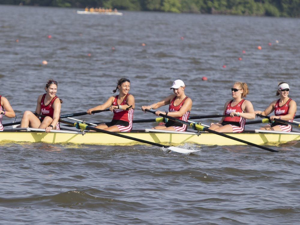 IU's women rowing team smiles at the crowd June 2, 2019, at Eagle Creek Park. The IU rowing season begins March 13.