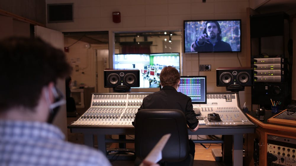 <p>IU students record music and mix sounds for Double Exposure 2021 short film screening. IU's annual Double Exposure film screening will debut 12 student-made short films from 7-7:54 p.m. April 9 over Zoom.</p>