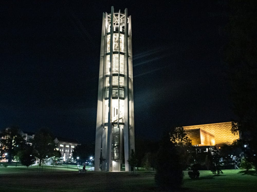 The Metz Carillon stands at the center of the Jesse H. and Beulah Chanley Cox Arboretum on Oct. 12, 2021.