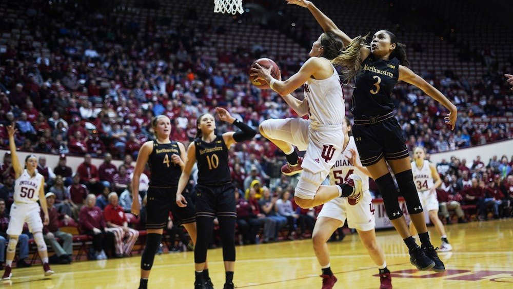Redshirt junior Ali Patberg goes for a layup Jan. 16 in Simon Skjodt Assembly Hall. Patberg scored 12 points against Northwestern.