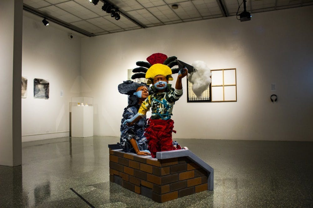 A sculpture is seen on display Oct. 16, 2019, at the Grunwald Gallery.