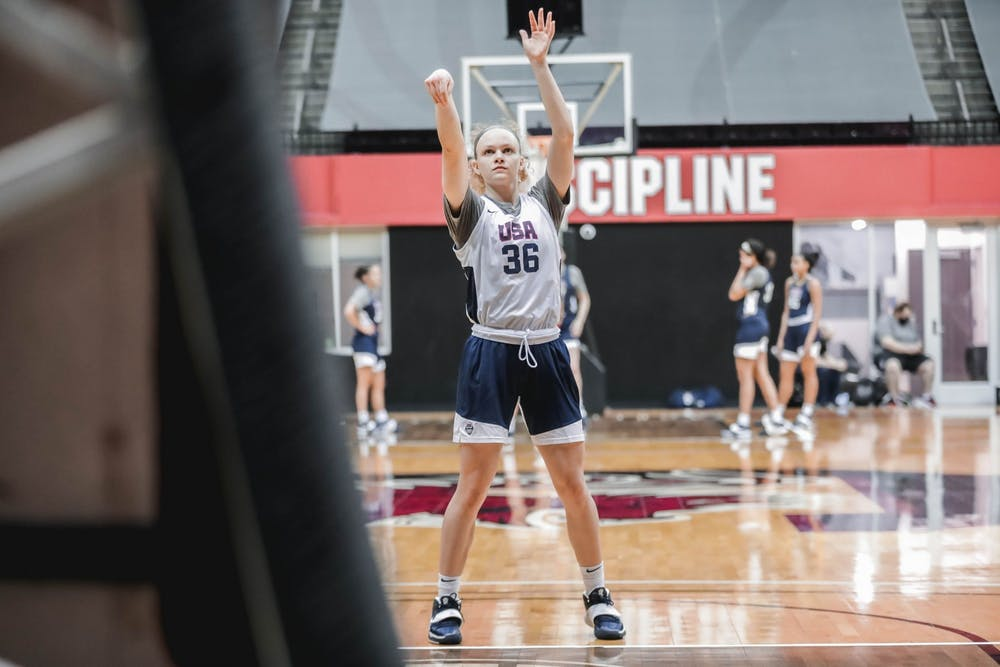 <p>Grace Berger shoots the ball Tuesday at the USA Women&#x27;s Basketball AmeriCup Trials in Columbia, South Carolina. Berger is one of 12 members of the USA Women&#x27;s AmeriCup roster.</p>