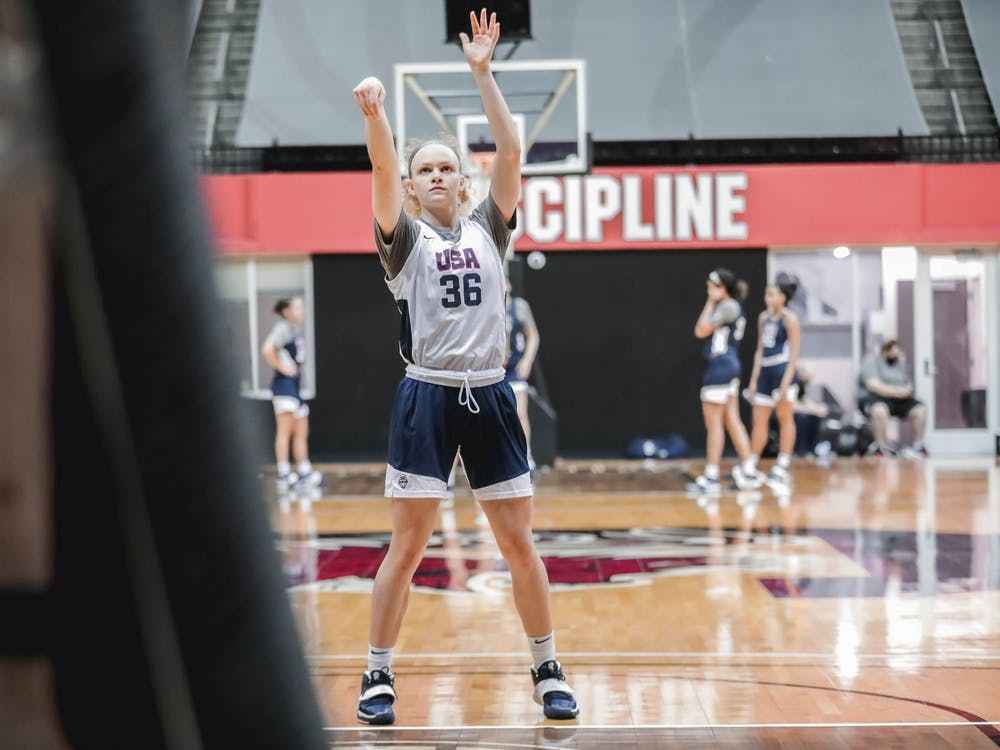 Grace Berger shoots the ball Tuesday at the USA Women's Basketball AmeriCup Trials in Columbia, South Carolina. Berger is one of 12 members of the USA Women's AmeriCup roster.