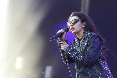 Charlie XCX performs May 15, 2015, at the Mercedes-Benz Evolution stage during the Rock in Rio USA music festival in Las Vegas.