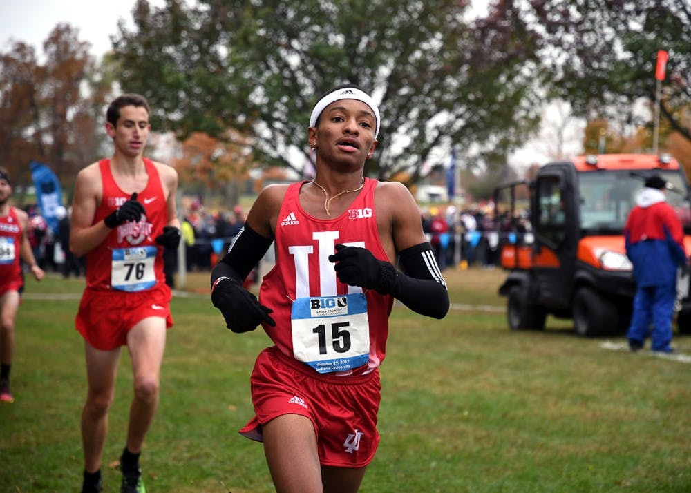 <p>Then-redshirt freshman Marcus Ellington runs in the Big Ten Cross-Country Championships on Oct. 29, 2017, at the IU Cross-Country course. Sophomore Jake Gebhardt was 84th in the men's blue race to lead seven IU runners Oct. 18 at the Nuttycombe Invitational in Madison, Wisconsin.</p>
