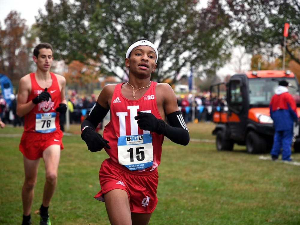Then-redshirt freshman Marcus Ellington runs in the Big Ten Cross-Country Championships on Oct. 29, 2017, at the IU Cross-Country course. Sophomore Jake Gebhardt was 84th in the men's blue race to lead seven IU runners Oct. 18 at the Nuttycombe Invitational in Madison, Wisconsin.