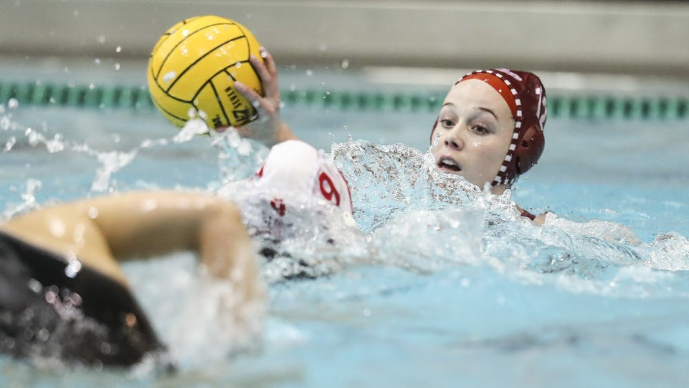 Then-sophomore attacker Tina Doherty makes a pass Jan. 25, 2020, at the Counsilman-Billingsley Aquatics Center. The Hoosiers lost twice this weekend to Stanford in Palo Alto, California.