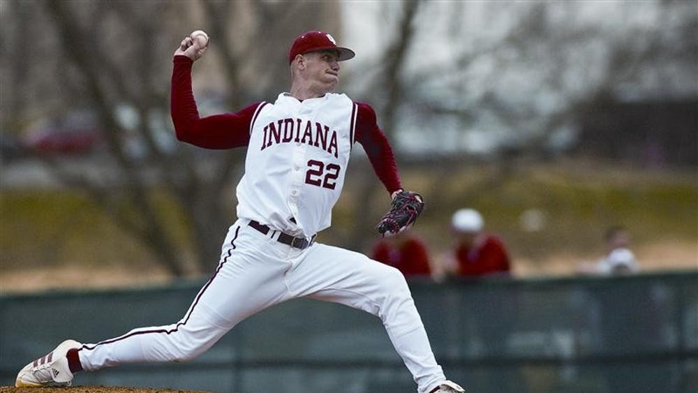 Junior pitcher Eric Arnett releases a throw during the third inning of a game against Xaver March 26, 2008 at Sembower field. The Hoosiers came from behind to win the game 10-4.