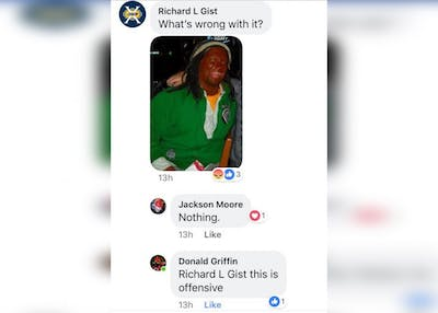 Richard Gist, a Brown County High School coach and substitute teacher, is facing backlash after posting a Facebook photo of himself wearing blackface, which can be seen in the screenshot above. Gist has since deleted his Facebook account. His status with Brown County Schools is still undetermined.
