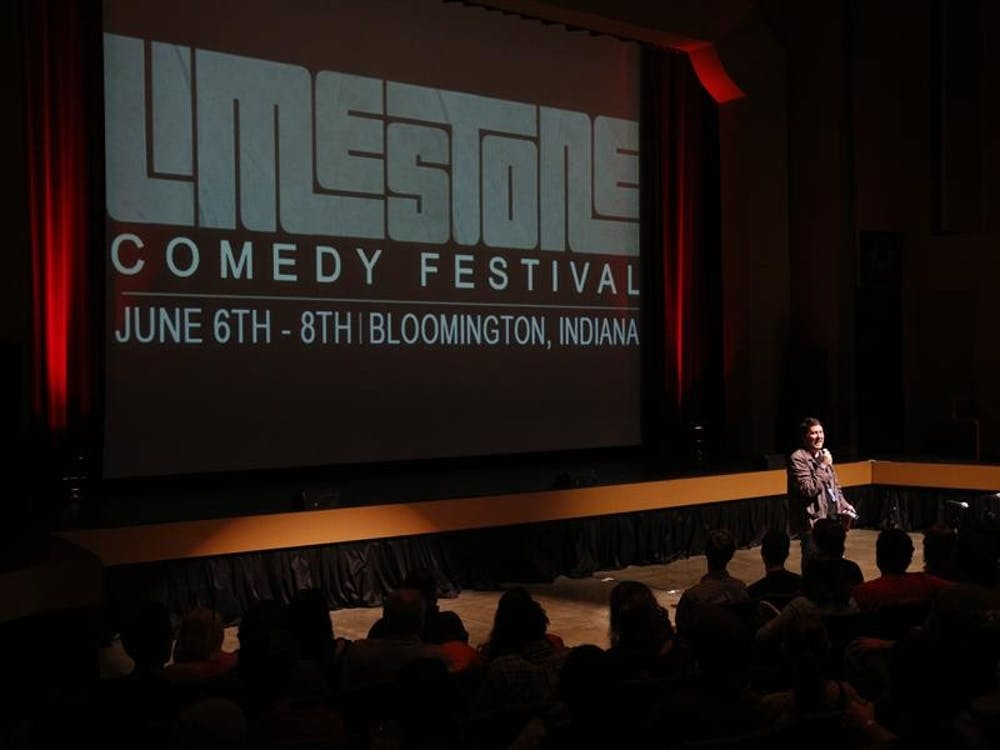 """Comedian Doug Benson introduces a taping of the Doug Benson Movie Interruption during the Limestone Comedy Festival on Saturday at the Buskirk-Chumley Theater. The event involved Doug Benson and fellow comedians talking through a showing of the Bloomington classic """"Breaking Away."""""""