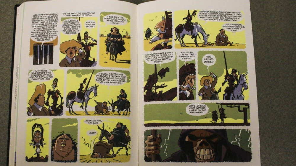 """""""El Quijote"""" was written by Miguel de Cervantes. There is a comic book version of the novel."""