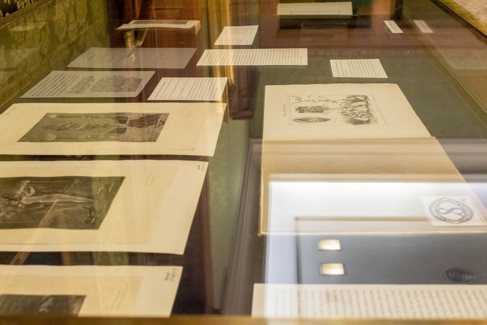 "<p>Banned books sit on display April 8 at the Lilly Library. Many different articles are on display in the exhibition, including what is considered the first English pornographic novel, ""Fanny Hill"" by John Cleland.&nbsp;</p>"