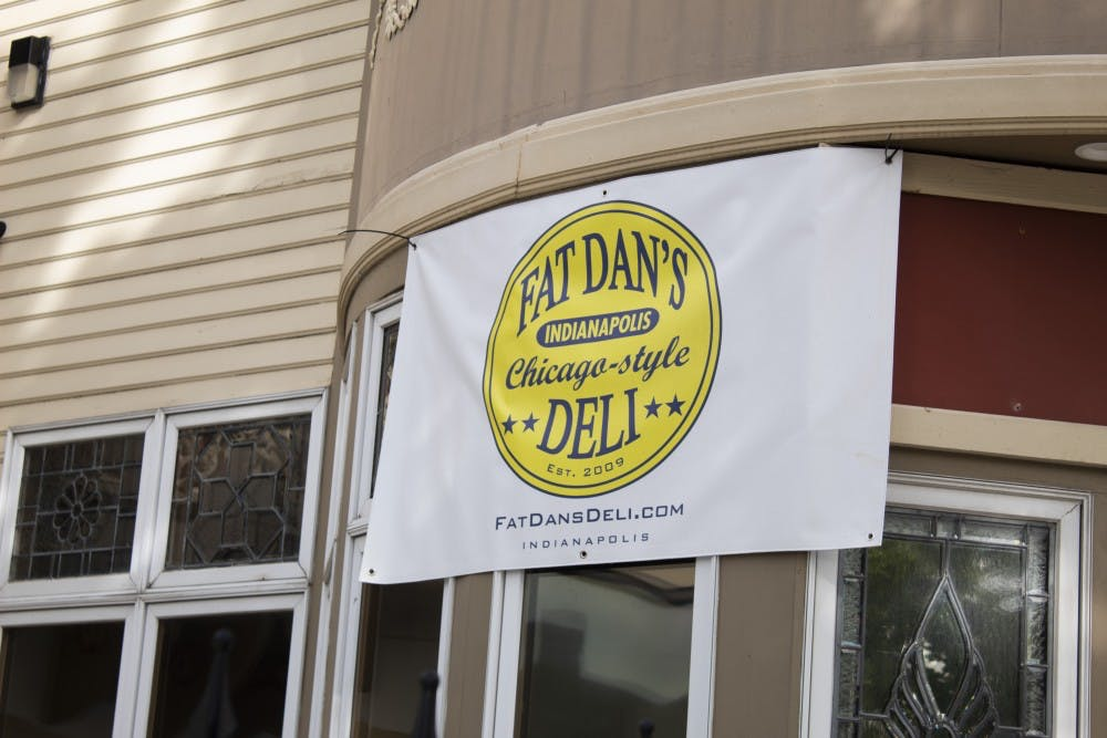 <p>A sign hangs off of the front of Fat Dan's Chicago-style Deli on Sept. 26 at 221 East Kirkwood Avenue. The new restaurant is located in Kirkwood Towers.</p>
