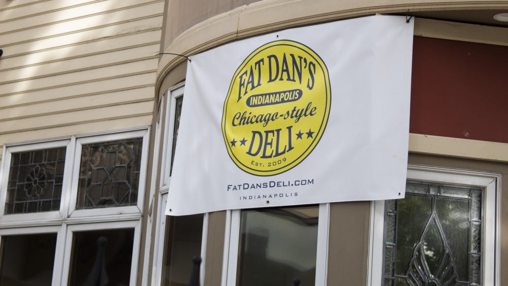 A sign hangs off of the front of Fat Dan's Chicago-style Deli on Sept. 26 at 221 East Kirkwood Avenue. The new restaurant is located in Kirkwood Towers.