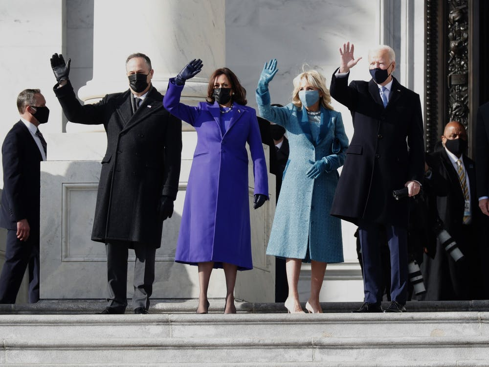U.S. President Joe Biden, right, with first lady Jill Biden, second from right, Vice President Kamala Harris, second from left, and her husband Douglas Emhoff, left, arrive on the East Front of the U.S. Capitol on Wednesday in Washington.