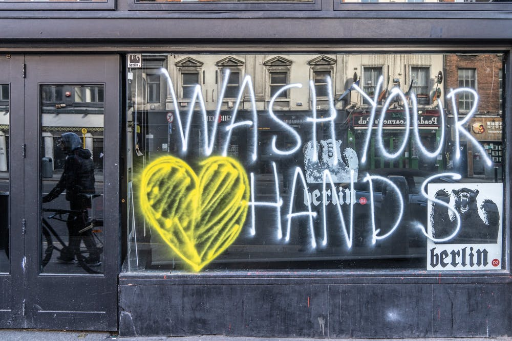 <p>A window display promotes hand washing March 15, 2020, in Ireland. Black Americans are 1.5 times more likely to get COVID-19 than white Americans, according to American Council on Exercise President and Chief Science Officer Cedric Bryant. </p>