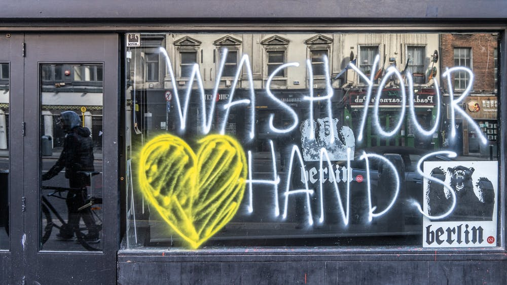 A window display promotes hand washing March 15, 2020, in Ireland. Black Americans are 1.5 times more likely to get COVID-19 than white Americans, according to American Council on Exercise President and Chief Science Officer Cedric Bryant.