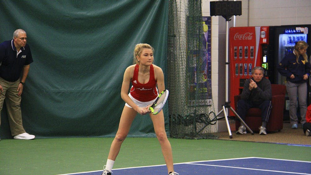 Women's tennis doubles, then-senior Kim Schmider and then-sophomore Madison Appel played against University of West Virginia, March 4, 2017 at the IU Tennis Center. Appel was ready to receive the serve during the Hoosiers' 6-4 loss to the Mountaineers.
