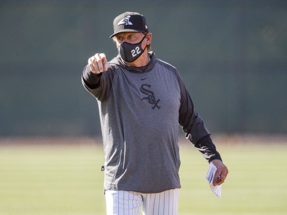 Tony La Russa walks on a practice field Feb 24 during White Sox spring training. La Russa is the manager for the Chicago White Sox of MLB.