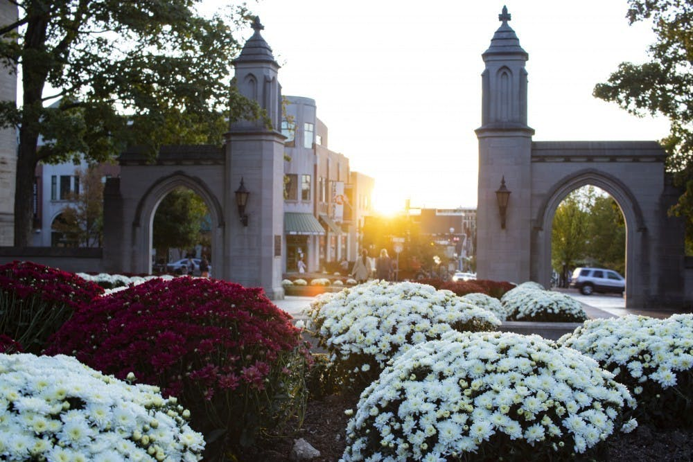 <p>Freshly-planted chrysanthemums lay in front of Sample Gates on Oct. 9 in front of Franklin Hall. As of fall 2019, IU has a total of 7,710 international students enrolled on campuses across the state, according to the Office of International Students website. </p>