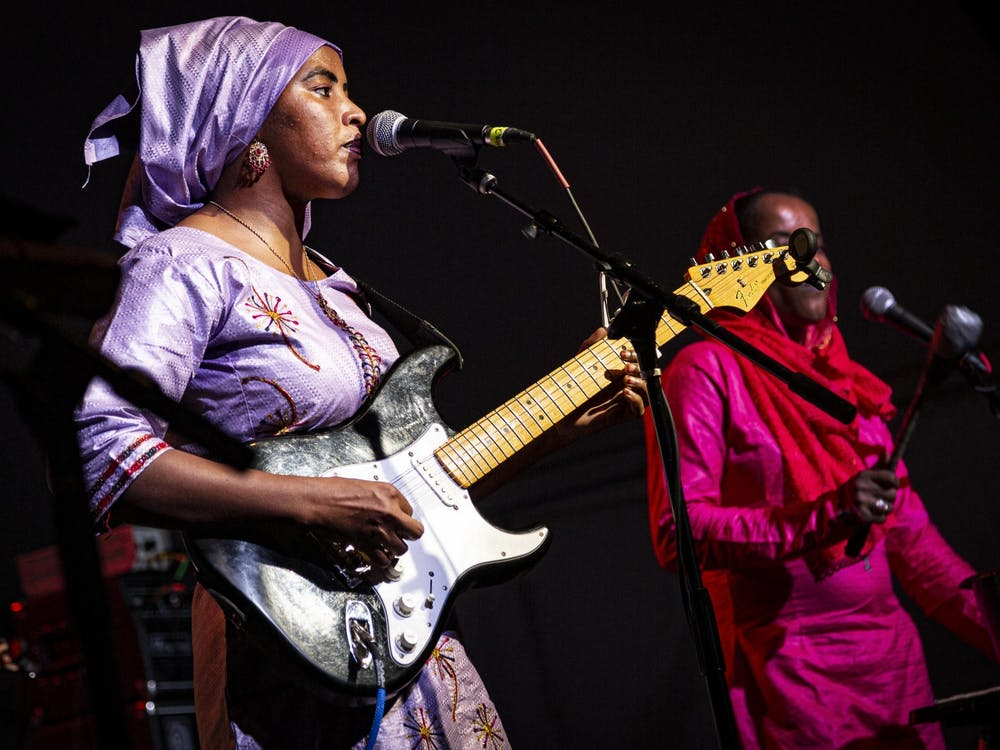 Lead vocalist Fatou Seidi Ghali of the band Les Filles de Illighadad performs Sept. 28, 2019, in the Fourth Street tent during Lotus World Music & Arts Festival. Lotus plans to have the live festival from Sept. 23-26, 2021.