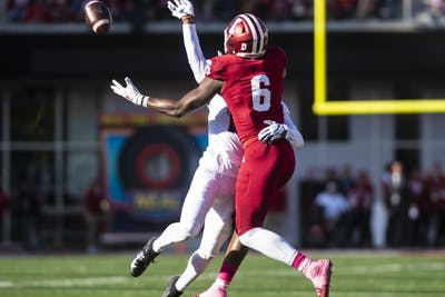 Senior wide receiver Donavan Hale attempts to make a catch during IU's game against Penn State on Oct. 20 at Memorial Stadium. With its loss to Penn State, IU's record stands at 4-4.