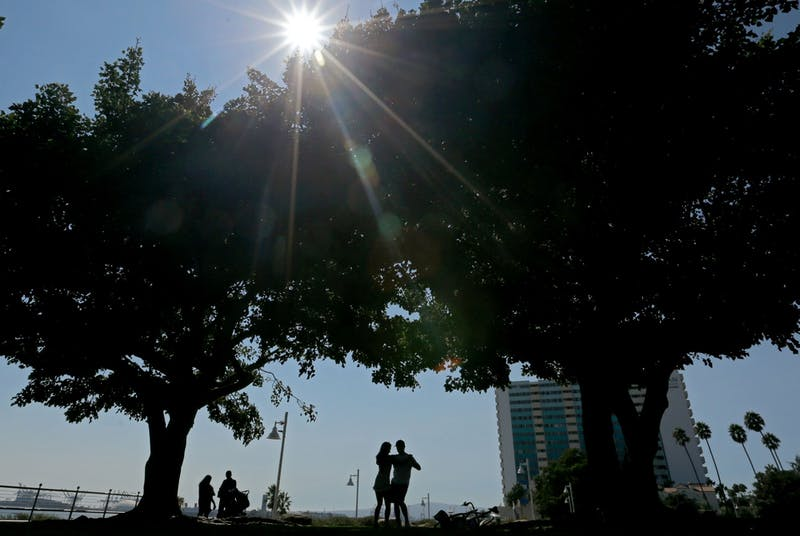 Beachgoers enjoy the shade and sea breeze beneath trees at Valparaiso Plaza on Friday in Long Beach, California. A weather event this week has the potential to set all-time record high temperatures throughout Southern California.