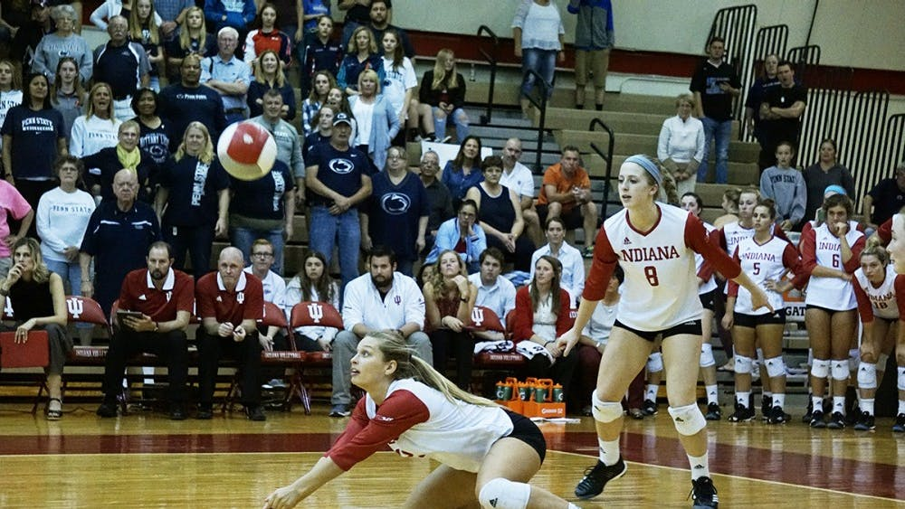 Then-junior Samantha Fogg dives to return the ball against the Penn State on Oct. 21, 2017. IU opens its 2018 season this weekend in Las Vegas.