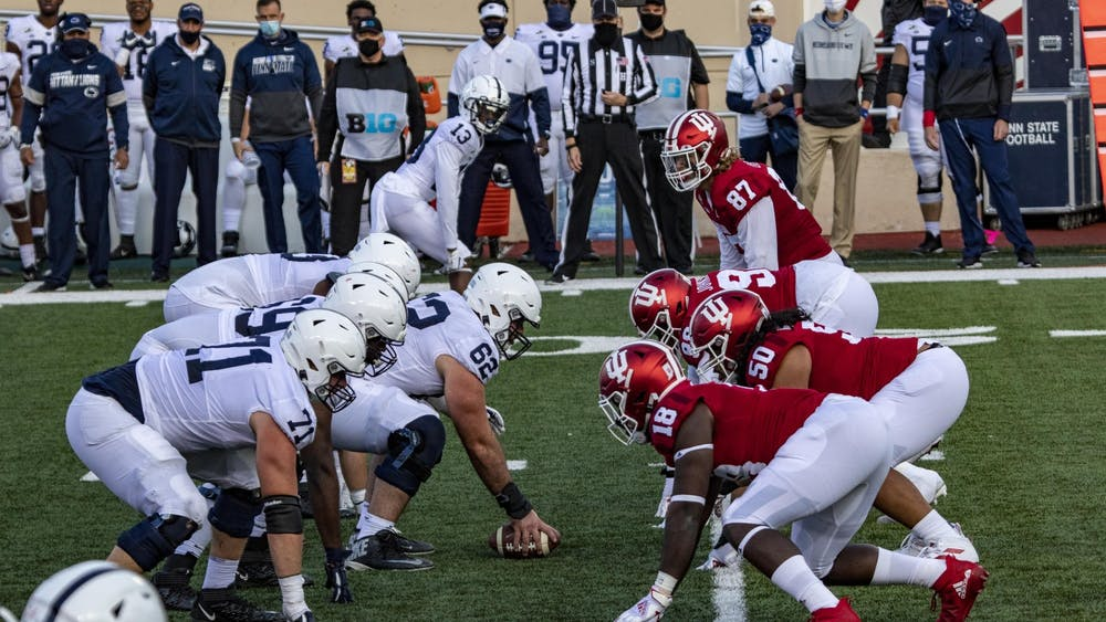 IU's defensive linemen prepare to tackle Penn State's offensive linemen Oct. 24 in Memorial Stadium.