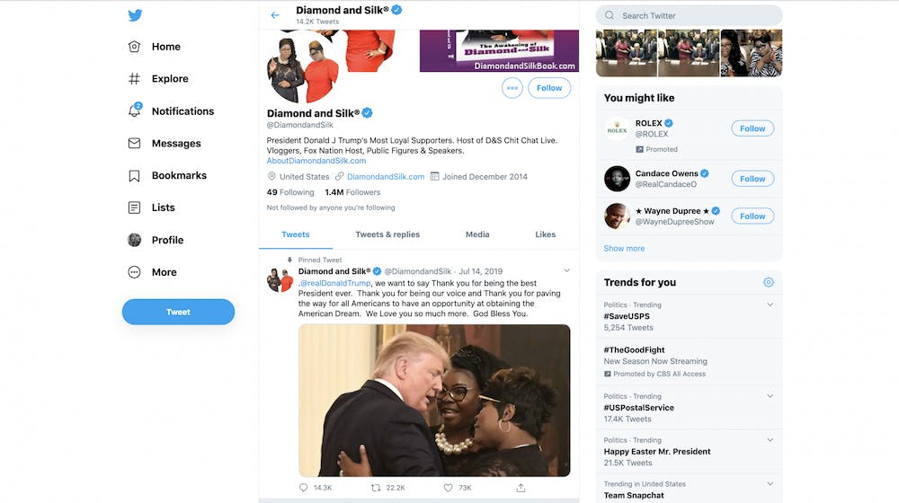 <p>The Twitter page for Diamond and Silk is displayed April 12.</p>