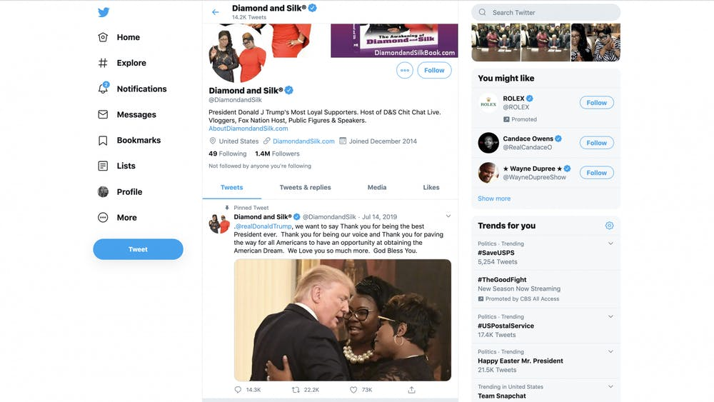 The Twitter page for Diamond and Silk is displayed April 12.