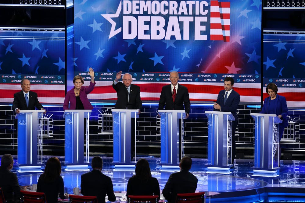 <p>Democratic presidential candidates participate in the Democratic presidential primary debate Feb. 19 in Las Vegas.</p>