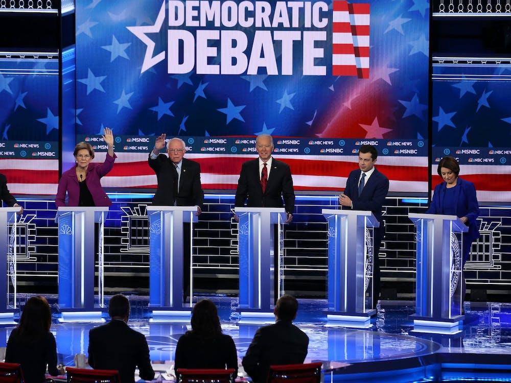 Democratic presidential candidates participate in the Democratic presidential primary debate Feb. 19 in Las Vegas.