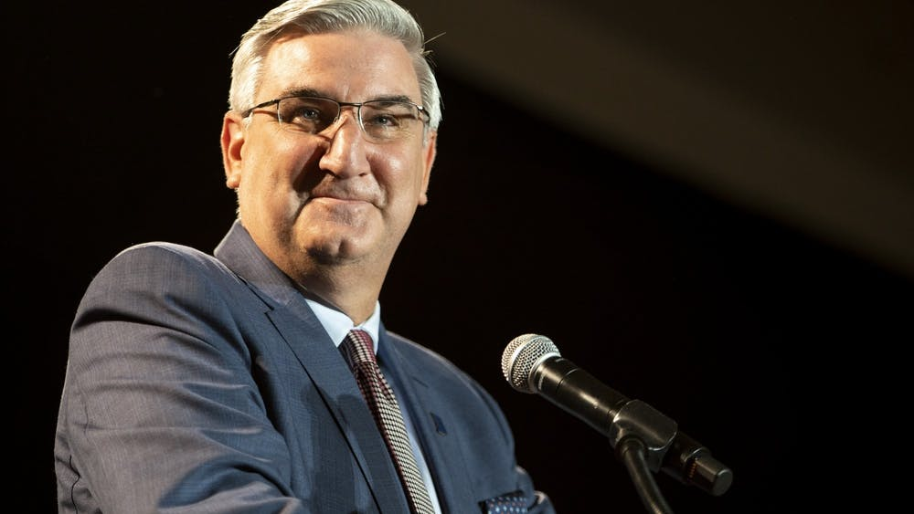 "Gov. Eric Holcomb speaks to a crowd Nov. 3, 2020, at the JW Marriott Hotel in downtown Indianapolis. Holcomb announced that the Indiana State Government complex will be closed Tuesday and Wednesday ""out of an abundance of caution."""
