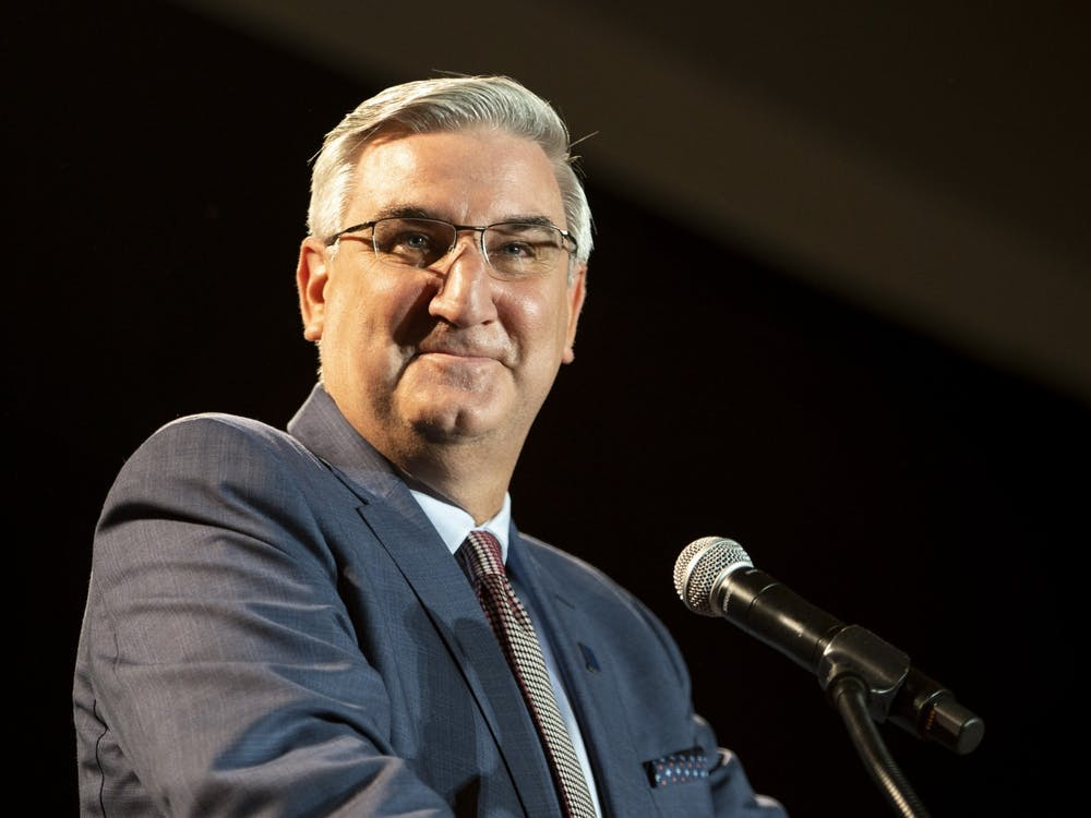 """Gov. Eric Holcomb speaks to a crowd Nov. 3, 2020, at the JW Marriott Hotel in downtown Indianapolis. Holcomb announced that the Indiana State Government complex will be closed Tuesday and Wednesday """"out of an abundance of caution."""""""
