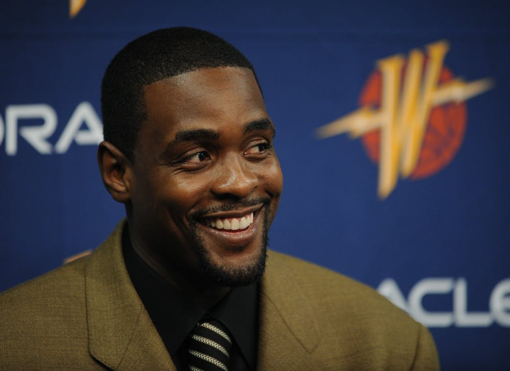 <p>Golden State Warriors basketball player Chris Webber talks with the media before the start to a game  on Feb. 1, 2008, at theOracle ArenainOakland, California.</p>