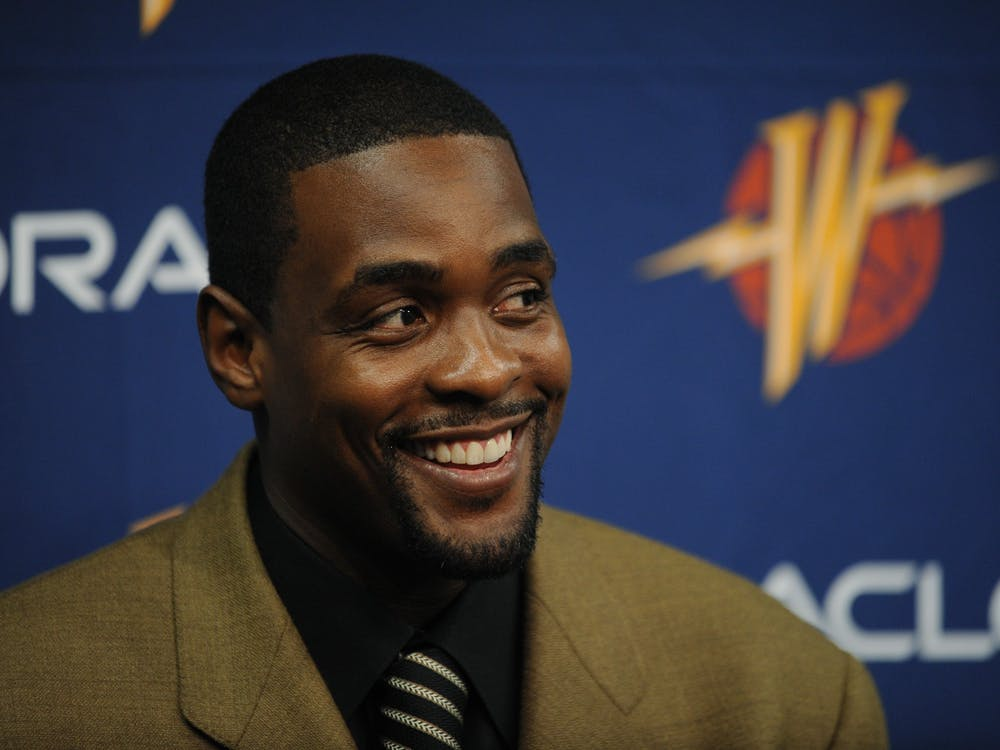 Golden State Warriors basketball player Chris Webber talks with the media before the start to a game  on Feb. 1, 2008, at theOracle ArenainOakland, California.