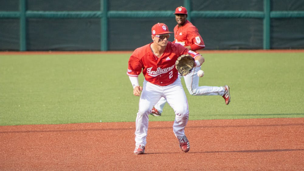 Junior Infielder Cole Barr makes the catch against Ohio State on May 24. Barr earned his second All-Region selection after leading IU with eight home runs and 35 RBI.
